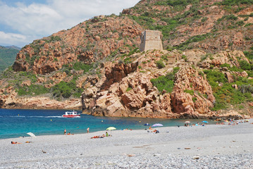 Porto beach with Genuese tower in background, Corsica