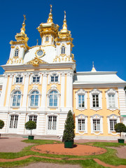 church of grand palace in peterhof, russia
