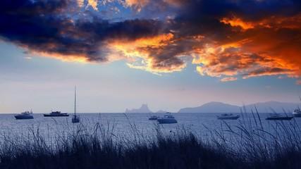 Ibiza sea sunset view from Formentera Balearic islands
