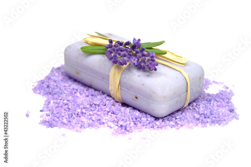 Seife mit Lavendel, Badesalz