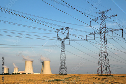 high voltage towers and nuclear power plant