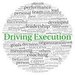 Driving Execution concept in word tag cloud
