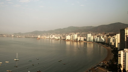 timelapse of the bay of stretching along the coast in acapulco