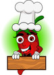 the cute chef chili cartoon with banner
