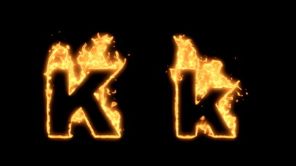 Upper and lower case K bursting into flames.