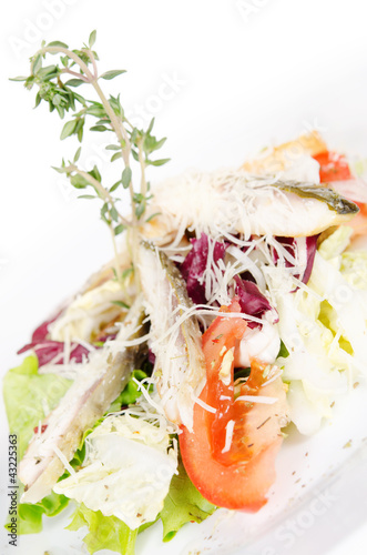 salad. fillet of smoked pikeperch