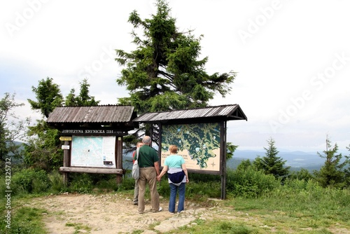 tourists looking at map on top of Jaworzyna near Krynica