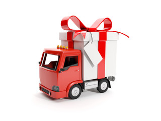 3d illustration: Truck delivering a gift