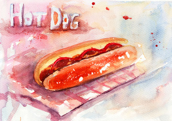 Watercolor illustration of hot dog