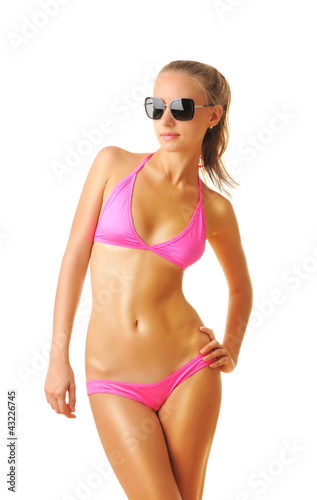 Sexy tan woman in bikini