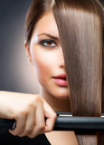 Fototapety Hair Straightening Irons. Straight Hair