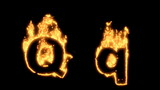 Upper and lower case Q bursting into flames.