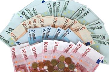 Cash euros and coins