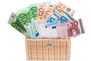 Euro money in a box .