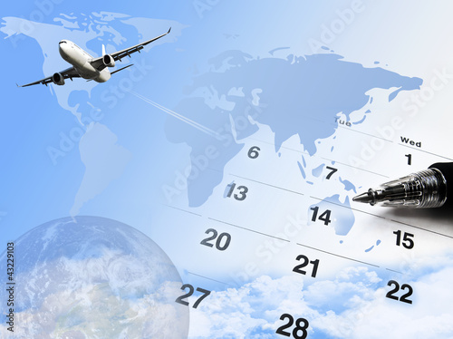 composite of calendar and world map and airplane