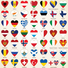 Flags of European Countries in heart shape, icon pack
