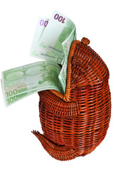 Cash euros in a wattled frog.