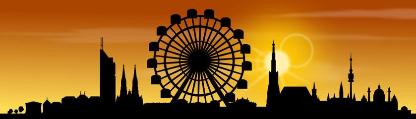 Wien Skyline Prater Sonnenuntergang