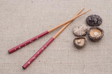 Shiitake mushrooms on jute background