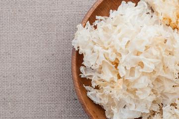 Snow ear mushrooms on a bowl