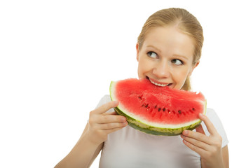 woman eating a watermelon isolated on white background