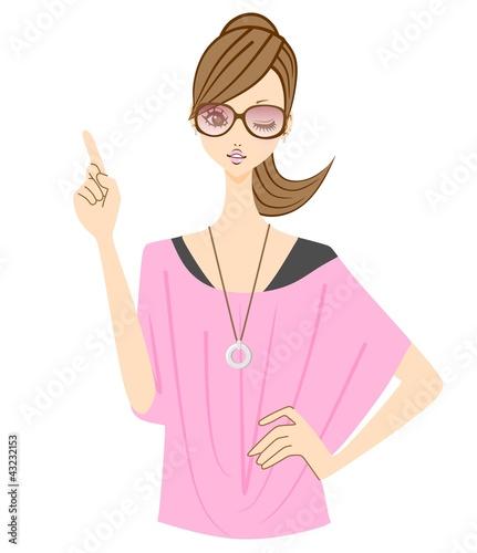 ファッション 女性 指差し