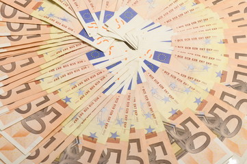 Lot of money fifty euros banknotes for background