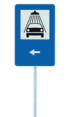 Car wash road sign post pole, traffic roadsign, left hand arrow