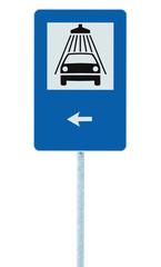 Car wash road sign post pole, traffic roadsign, left hand arrow