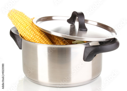 Fresh corn cobs in pot isolated on white