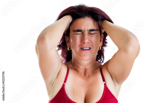 Crying hispanic woman suffering depression isolated on white