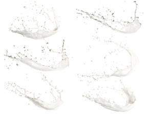 Milk splashes collection, isolated on white background