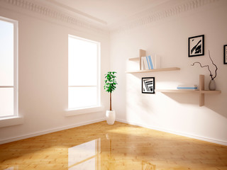 room with flower and shelves