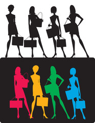 Silhouettes of shopping girls