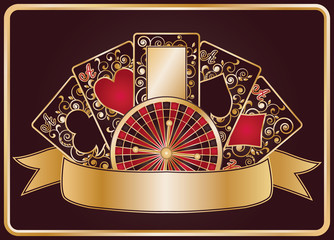 Elegant poker banner, vector illustration
