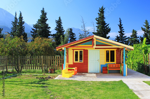 Children's play house in a yard