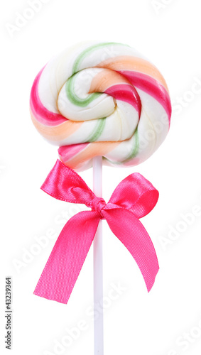 Colorful lollipop with bow isolated on white