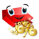 lächelnde einkaufstüte mit goldenen prozenten