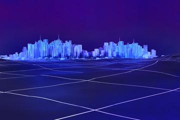Digitale Stadt Neon Gitterlinien 3D