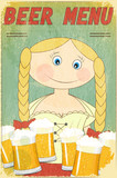 Retro Beer Menu - blond girl with beer