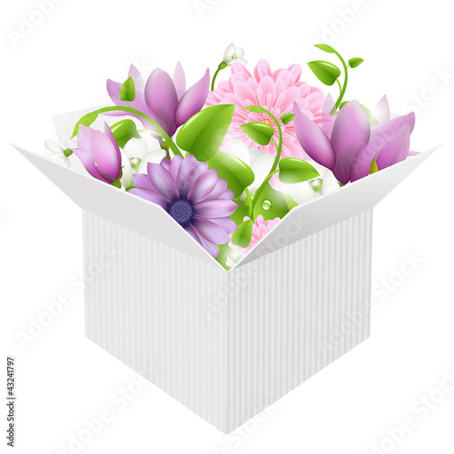 White Box With Spring Flowers