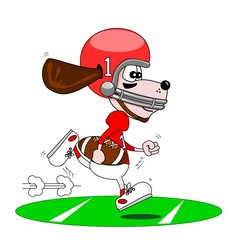 A cartoon dog playing American football