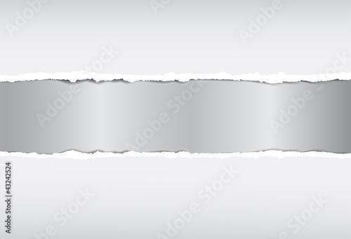 Broken paper with metallic effect, vector image