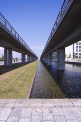 Metro lines above canal in Copenhagen, Denmark