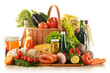 Composition with variety of grocery products