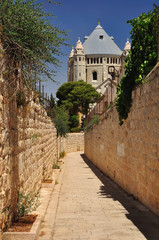 Passage to Dormition Abbey. Zion mount. Jerusalem.