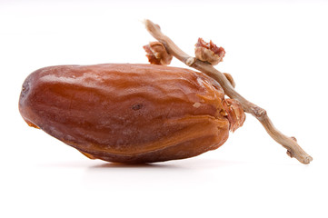 Dried date over white background ready for Ramadan
