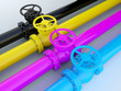 Industrial printing - CMYK pipelines with valves