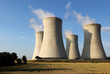 view of nuclear power plant towers