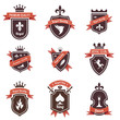 Vintage Labels set. Shield, ribbon, crown. Coat of arms. Retro